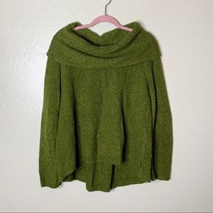 Anthro Angel Of The North Olive Cowl Neck Sweater